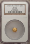 California Fractional Gold: , 1872 25C Indian Octagonal 25 Cents, BG-791, R.3, MS64 ProoflikeNGC. NGC Census: (9/21). (#710618)...