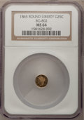 California Fractional Gold: , 1865 25C Liberty Round 25 Cents, BG-802, Low R.5, MS64 NGC. NGCCensus: (1/0). PCGS Population (13/3). (#10663)...