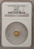 California Fractional Gold: , 1870 25C Liberty Round 25 Cents, BG-808, R.3, MS63 NGC. NGC Census:(6/24). PCGS Population (43/125). (#10669)...