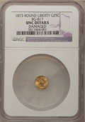 California Fractional Gold: , 1873 25C Liberty Round 25 Cents, BG-817, R.3,--Damaged--NGCDetails. Unc. NGC Census: (0/35). PCGS Population (4/187). (#...