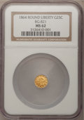 California Fractional Gold: , 1864 25C Liberty Round 25 Cents, BG-821, Low R.5, MS62 NGC. NGCCensus: (2/0). PCGS Population (10/3). (#10682)...