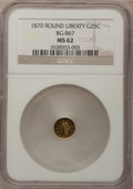 California Fractional Gold: , 1870 25C Goofy Head Round 25 Cents, BG-867, R.4, MS62 NGC. NGCCensus: (3/4). PCGS Population (15/25). (#10728)...