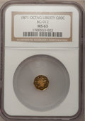 California Fractional Gold: , 1871 50C Liberty Octagonal 50 Cents, BG-912, R.3, MS63 NGC. NGCCensus: (9/6). PCGS Population (48/41). (#10770)...