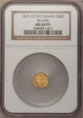 California Fractional Gold: , 1875 50C Indian Octagonal 50 Cents, BG-934, R.4, MS64 ProoflikeNGC. NGC Census: (3/1). (#710792)...