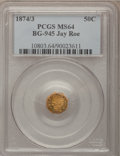 California Fractional Gold: , 1874/3 50C Indian Octagonal 50 Cents, BG-945, High R.4, MS64 PCGS.Ex: Jay Roe. PCGS Population (12/1). ...