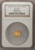 California Fractional Gold: , 1880 50C Indian Octagonal 50 Cents, BG-954, Low R.4, MS64 ProoflikeNGC. NGC Census: (4/7). (#7108...
