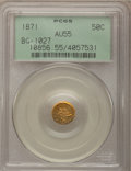 California Fractional Gold: , 1871 50C Liberty Round 50 Cents, BG-1027, R.3, AU55 PCGS. PCGSPopulation (22/142). NGC Census: (1/14). (#10856)...