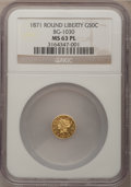 California Fractional Gold: , 1871 50C Liberty Round 50 Cents, BG-1030, R.6, MS63 Prooflike NGC.NGC Census: (1/0). (#710859)...
