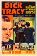 "Movie Posters:Serial, Dick Tracy (Republic, 1937). One Sheet (27"" X 41"") Episode 5 --""Brother Against Brother."". ..."