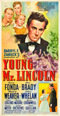 "Movie Posters:Drama, Young Mr. Lincoln (20th Century Fox, 1939). Three Sheet (41"" X 81"")Style A.. ..."