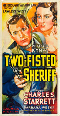 "Movie Posters:Western, Two-Fisted Sheriff (Columbia, 1937). Three Sheet (41"" X 81"").. ..."