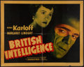 "Movie Posters:War, British Intelligence (Warner Brothers, 1940). Half Sheet (22"" X28"") Style B. War.. ..."