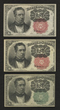 Fractional Currency:Fifth Issue, Fr. 1264; Fr. 1265; Fr. 1266 10¢ Fifth Issue About New.. ...(Total: 3 notes)