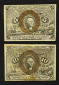 Fractional Currency:Second Issue, Fr. 1233 5¢ Second Issue Extremely Fine-About New.. Fr. 1246 10¢ Second Issue About New.. ... (Total: 2 notes)