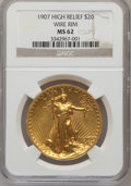 High Relief Double Eagles, 1907 $20 High Relief, Wire Rim MS62 NGC. NGC Census: (365/1108). PCGS Population (642/2343). Mintage: 11,250. Numismedia Ws...