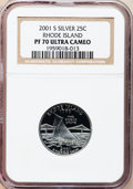 Proof Statehood Quarters, (2)2001-S 25C Rhode Island Silver PR 70 Deep Cameo NGC. ... (Total:2 coins)
