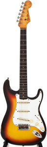 Musical Instruments:Electric Guitars, 1960s Fender Stratocaster Sunburst Solid Body Electric Guitar,#L07307....
