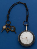 Timepieces:Pocket (post 1900), Isaac Barrington Silver Verge Fusee Pocket Watch With Gun Metal Chain. ...
