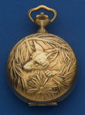 Timepieces:Pocket (post 1900), Hebdomas 8-Day Exposed Balance Gold Plate Hunter's Case Pocket Watch. ...