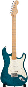Musical Instruments:Electric Guitars, 2000 Fender Stratocaster Blue Pearloid Solid Body Electric Guitar,#DZ0065666....