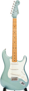 Musical Instruments:Electric Guitars, 2001 Fender Stratocaster '57 Reissue Metallic Ice Blue Solid BodyElectric Guitar, #V133491....