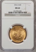 Indian Eagles: , 1913 $10 MS64 NGC. NGC Census: (325/99). PCGS Population (267/67).Mintage: 442,071. Numismedia Wsl. Price for problem free...