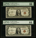 Small Size:World War II Emergency Notes, Fr. 2300 $1 1935A Hawaii Silver Certificates. Two Examples. PMG Choice Uncirculated 64-Gem Uncirculated 66 EPQ.. ... (Total: 2 notes)