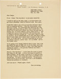 Movie/TV Memorabilia:Memorabilia, An Important File Copy Letter to John Ford, 1955....