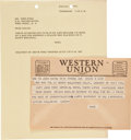 Movie/TV Memorabilia:Memorabilia, Two John Ford-Related Telegram Receipts, 1950s....