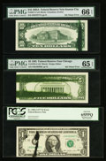 Error Notes:Ink Smears, Fr. 1909-J $1 1977 Federal Reserve Note. PCGS Gem New 65PPQ;. Fr.1978-G $5 1985 Federal Reserve Note. PMG Gem Uncirculate... (Total:3 notes)