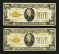 Small Size:Gold Certificates, Fr. 2402 $20 1928 Gold Certificates. Two Examples. Fine-Very Fine or Better.. ... (Total: 2 notes)