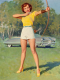 Pin-up and Glamour Art, WILLIAM MEDCALF (American, 20th Century). Pin-Up with Bow andArrow. Oil on board. 39.5 x 29.5 in.. Signed lower right. ...