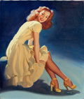 Pin-up and Glamour Art, WILLIAM MEDCALF (American, 20th Century). Seated Pin-Up inYellow. Oil on canvas. 24.5 x 20.5 in.. Signed lower right. ...