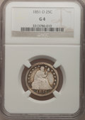 Seated Quarters: , 1851-O 25C Good 4 NGC. NGC Census: (0/22). PCGS Population (1/46).Mintage: 88,000. Numismedia Wsl. Price for problem free ...