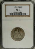 Seated Quarters: , 1851-O 25C AG3 NGC. NGC Census: (0/25). PCGS Population (1/32).Mintage: 88,000. Numismedia Wsl. Price: $85. (#5418)...