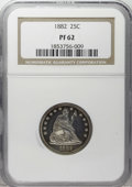 Proof Seated Quarters: , 1882 25C PR62 NGC. NGC Census: (21/197). PCGS Population (44/193).Mintage: 1,100. Numismedia Wsl. Price: $408. (#5583)...