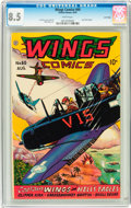 Golden Age (1938-1955):War, Wings Comics #60 Lost Valley pedigree (Fiction House, 1945) CGC VF+8.5 White pages....