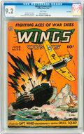 Golden Age (1938-1955):War, Wings Comics #58 Lost Valley pedigree (Fiction House, 1945) CGC NM-9.2 White pages....