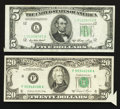 Error Notes:Attached Tabs, Fr. 1962-L $5 1950A Federal Reserve Note. Very Fine.. Fr. 2074-F$20 1981A Federal Reserve Note. About Uncirculated.. ... (Total: 2notes)