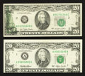 Error Notes:Miscellaneous Errors, Fr. 2072-B $20 1977 Federal Reserve Note. Extremely Fine.. Fr. 2079-A $20 1993 Federal Reserve Note. Extremely Fine.. ... (Total: 2 notes)