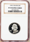 Proof Washington Quarters, (2)1992-S 25C Silver PR 70 Ultra Cameo NGC. ... (Total: 2 coins)