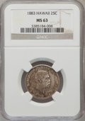 Coins of Hawaii: , 1883 25C Hawaii Quarter MS63 NGC. NGC Census: (161/432). PCGSPopulation (271/565). Mintage: 500,000. (#10987)...