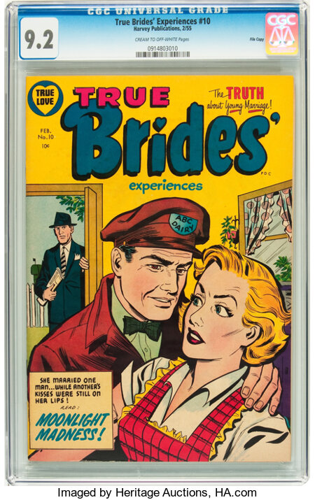 True Brides' Experiences #10 File Copy (Harvey, 1955) CGC NM- 9.2 Cream to off-white pages....