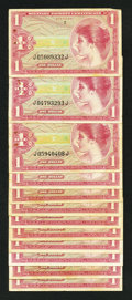 Military Payment Certificates:Series 641, Series 641 First Printing $10 Twelve Examples.. ... (Total: 12notes)
