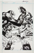 Original Comic Art:Splash Pages, John Buscema and Rudy Mesina Tarzan #7 Splash Page 18Original Art (Marvel, 1977)....