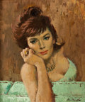 Pin-up and Glamour Art, ARTHUR SARON SARNOFF (American, 1912-2000). 1950s Woman. Oilon board. 24 x 20 in.. Signed lower right. From the Est...