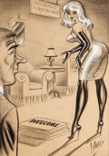 Pin-up and Glamour Art, BILL WARD (American, 1919-1998). Welcome. Charcoal, gouache,and watercolor on paper. 20 x 14 in.. Signed lower right. ...