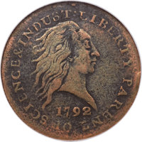 1792 P1C One Cent, Judd-2, Pollock-2, Low R.7, Fine 15 NGC. CAC....(PCGS# 11004)