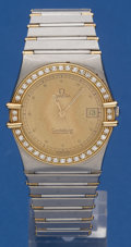 Timepieces:Wristwatch, Omega Steel & Gold Diamond Bezel Constellation For Repair. ...