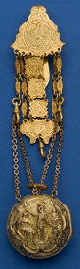 Timepieces:Pocket (pre 1900) , Josephson London Gilt Repousee Verge With Fancy Dial &Chatelaine, circa 1790. ...